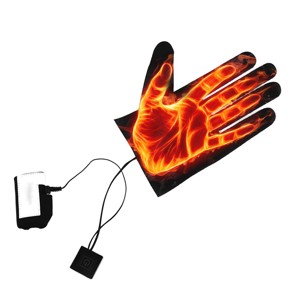 5 Finger Winter Outdoor Thermal Gloves USB Electric Heating Pads Battery Power Supply 3 Speed Switch Heating Sheet For Gloves