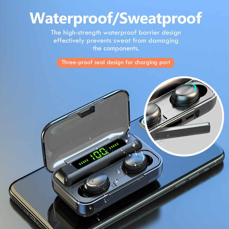 TWS Bluetooth 5.0หูฟัง2200MAhกล่องชาร์จหูฟังไร้สาย9Dสเตอริโอกีฬาหูฟังกันน้ำพร้อมไมโครโฟน