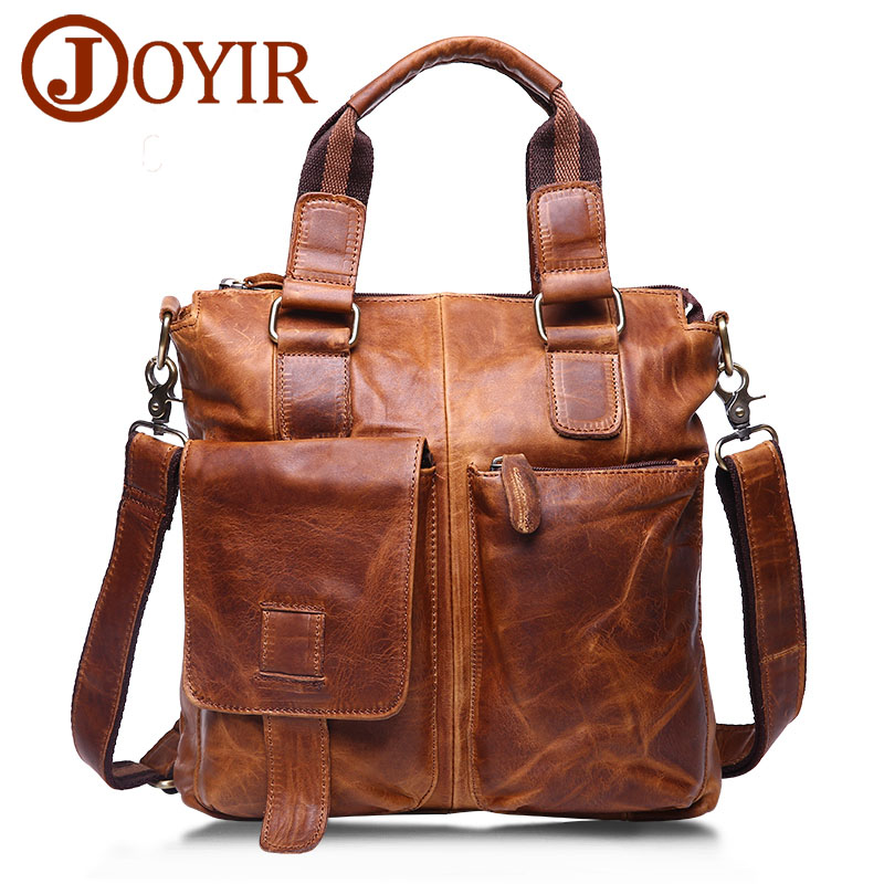 JOYIR Genuine Leather Men's Briefcase Male Leather Business Office Laptop Men's Bag Messenger Shoulder Crossbody Bag Handbags