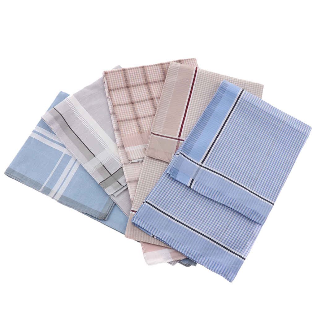 5 Pcs 100% Cotton Handkerchiefs Men Plaid Pocket Hankies Wedding Party Man Handkerchief