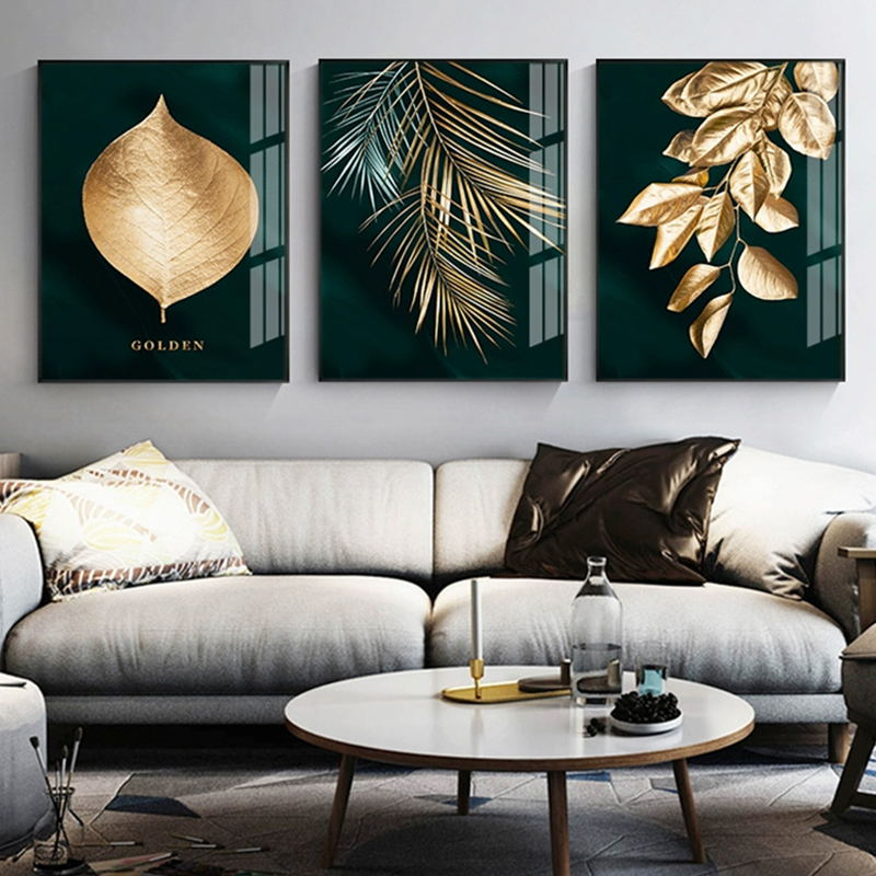 H74cf74f0f4fb483789620a6823e07296v Abstract Golden Plant Leaves Picture Wall Poster Modern Style Canvas Print Painting Art Aisle Living Room Unique Decoration