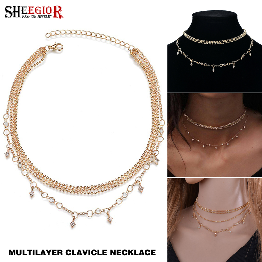 Gothic Layered Choker Star Pendant Necklace Women Accessories Punk Lovely Mashup Gold Chain Necklace Fashion Jewelry Best Friend