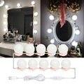 10 Светодиодный лампочки Голливуд косметическое зеркало для макияжа с подсветкой Комплект косметический лампа Регулируемый Make Up зеркала яр...