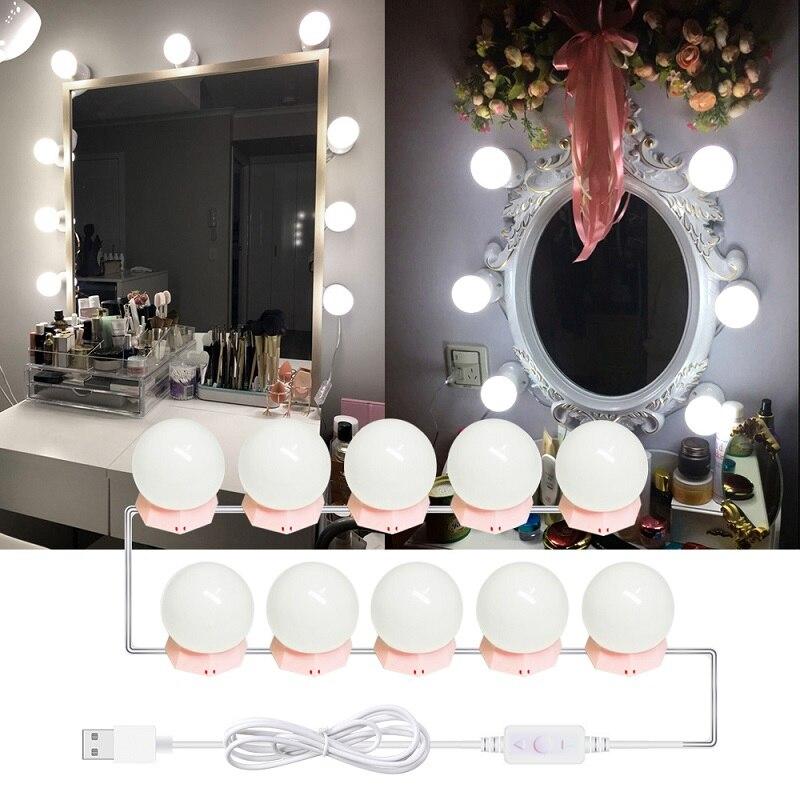 10 LED لمبات هوليوود مرآة الزينة ضوء كيت التجميل لمبة قابل للتعديل المكياج مرايا سطوع أضواء غرفة نوم