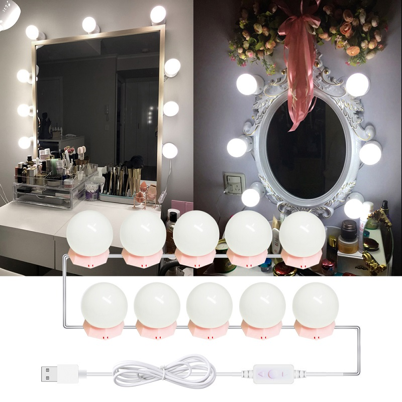 10 LED Bulbs Hollywood Vanity Makeup Mirror Light Kit Cosmetic Bulb Adjustable Make Up Mirrors Brightness Lights Bedroom