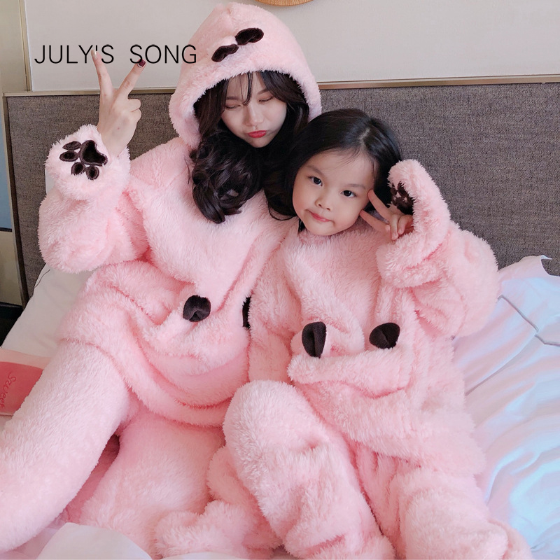 JULY'S SONG Flannel Cartoon Women Pajamas Set Autumn Winter Thick Warm Boy Coral Fleece Parent-child Sleepwear Homewear