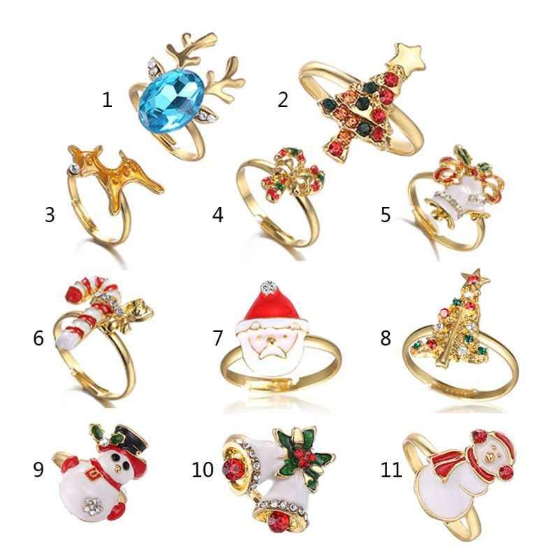 คริสต์มาสแหวนเคลือบการ์ตูนซานตาคลอส Xmas Tree รูปร่างน่ารักแหวน M2EB