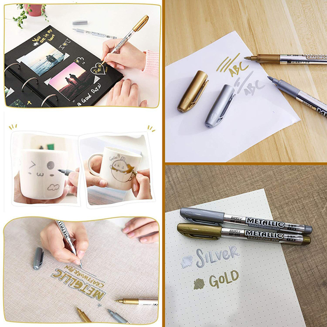 1.5mm Gold And Silver Metallic Art Marker brush Pen Craftwork pen For DIY Painting Pens Signature Greeting card Craftwork Art 3