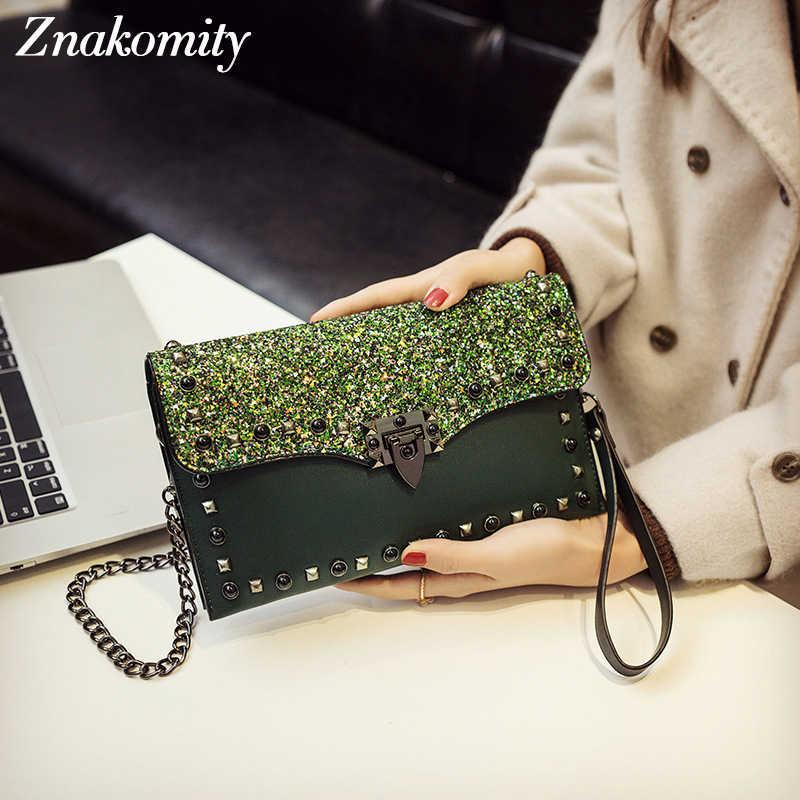 Znakomity ファッション女性クラッチバッグリベットデザインクラッチ財布イブニングバッグクラッチ女性 Pu レザーショルダーバッグの女性