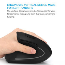 6D 2.4G Wireless Ergonomic Vertical Mouse Left hand Optical 1600DPI Low Noise Mouse Desktop Pc Gamer Laptop Silent Gaming Mic