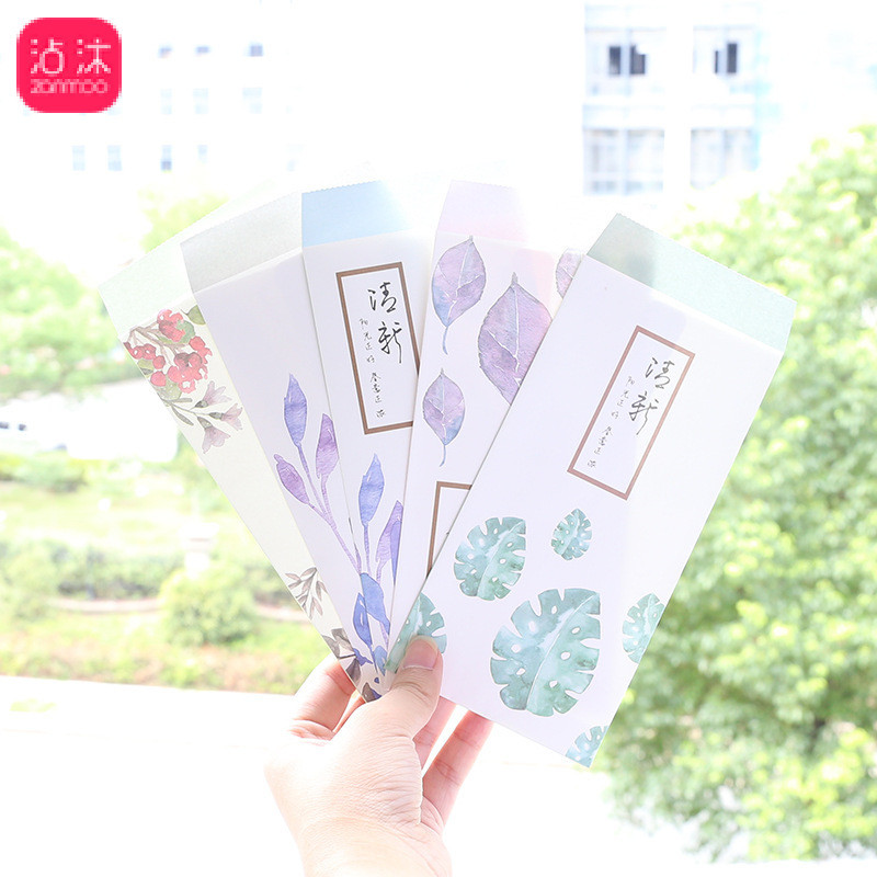 0844 Fresh Watercolor Plant Vertical Envelope Card Love Letter Cards Invitation Confession Postcard To Envelope