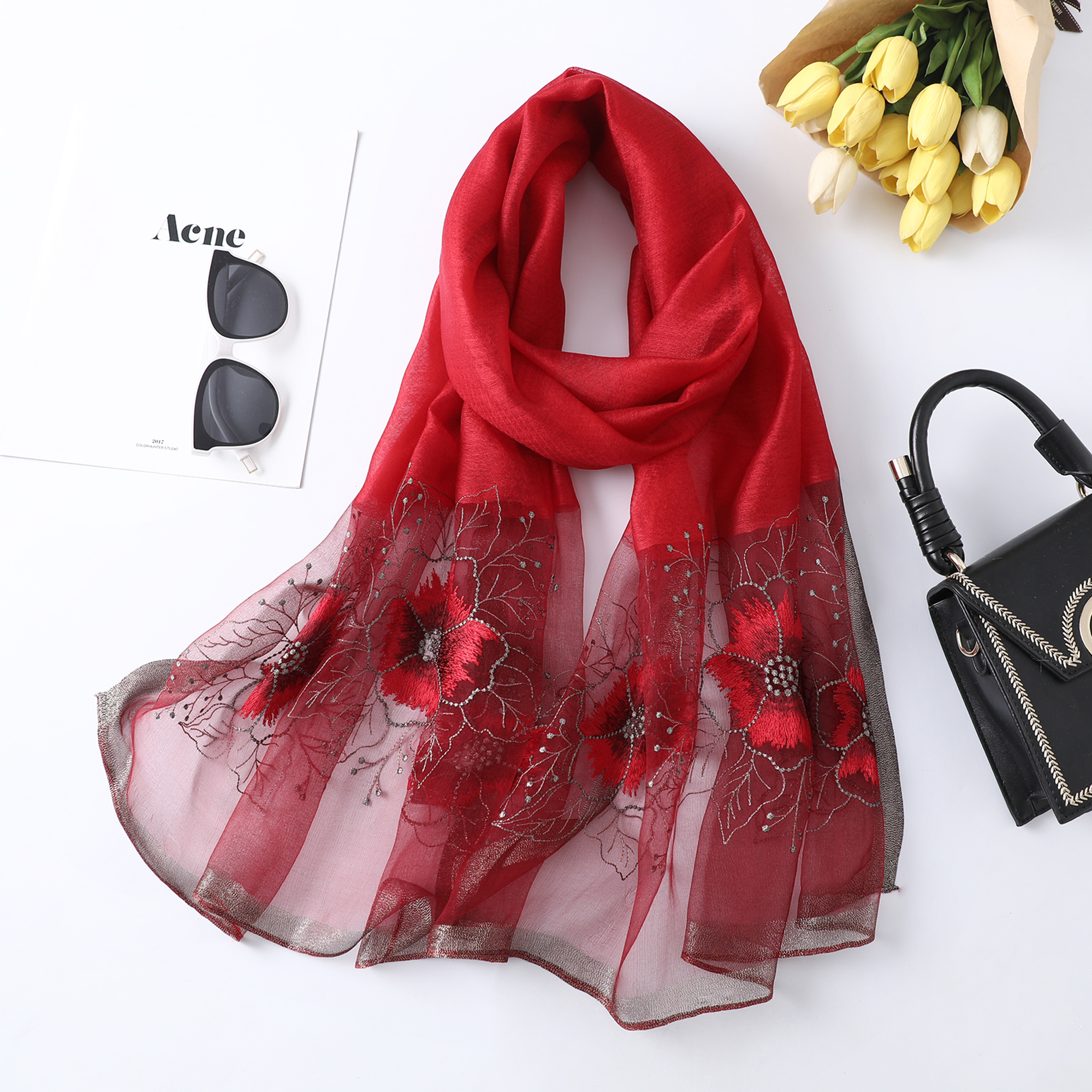 Ladies Long Soft Wrap Shawl Silk Scarf Peacock Flower Embroidered Lace Scarf RD