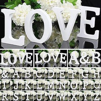 New 1pc 6cm romantic Large cute white Wooden DIY Letter Alphabet Wall Hanging Wedding baby nursery Home personalised Decoration image
