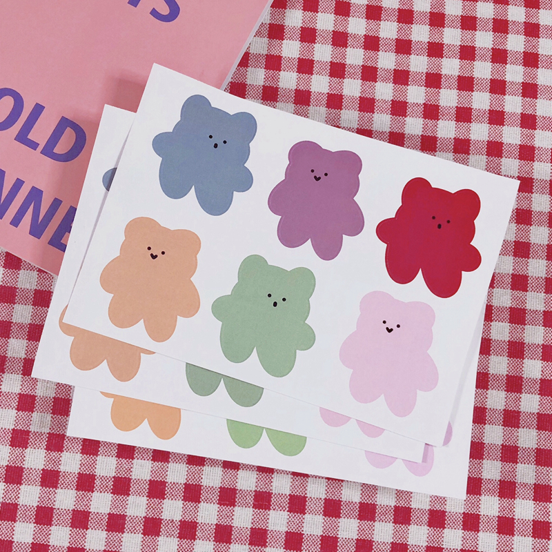 6Pcs/Lot Cartoon Cute Korea Style Ins Soft Bear Candy Sticker DIY Scrapbooking Album Diary Label Decoration Stickers