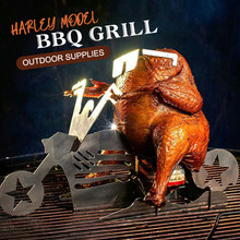 New Portable BBQ Barbecue Chicken Stand Outdoors Grill For Bbq Motorcycle Model Stainless Steel Grill Kitchen Accessories