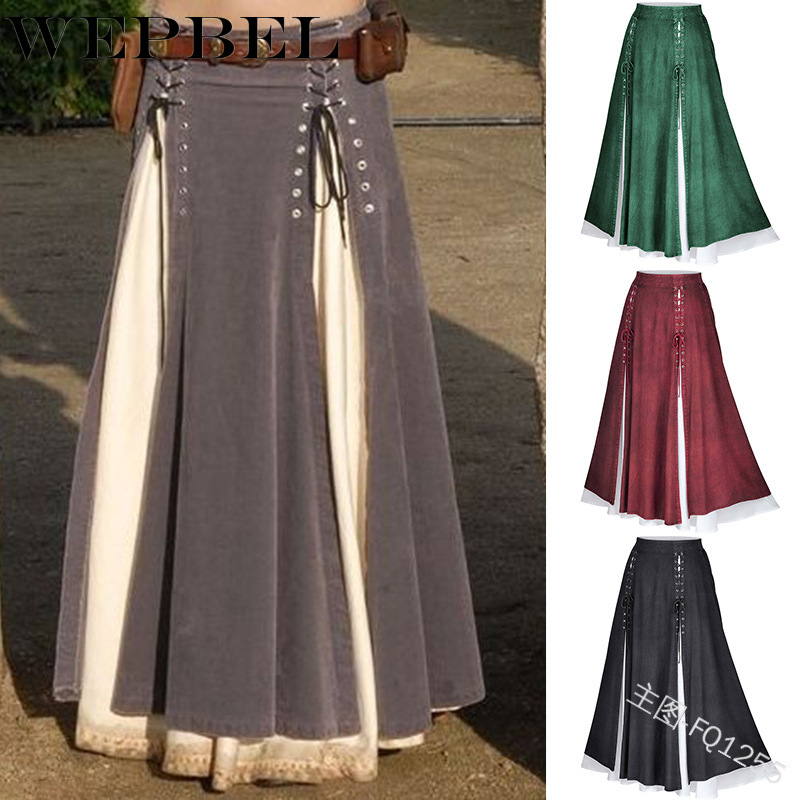 WEPBEL Vintage Women High Waist A-Line Floor-Length Skirt For Gothic Girls Stitching Irregular Solid Color Casual Retro Skirt