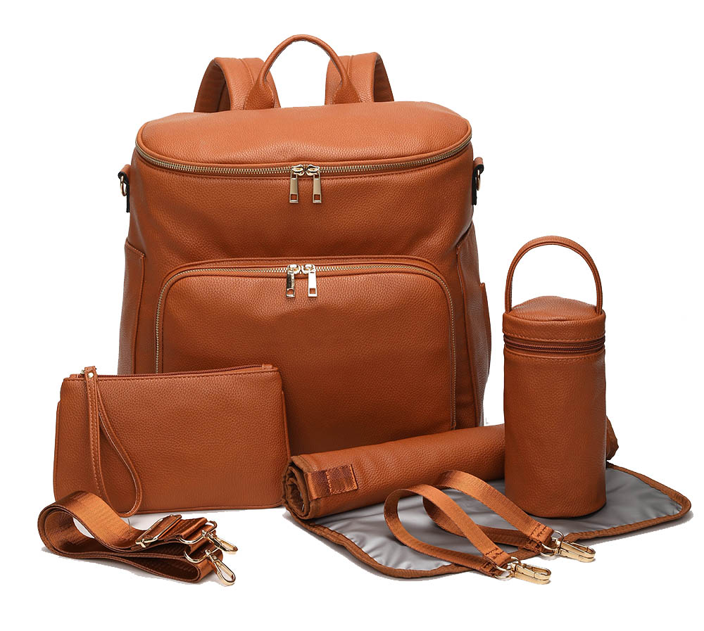 PU Leather Diaper Bag Backpack Travel Carry Bag, Nappy Baby Bag with Stroller Hanger|Thermal Pockets|Adjustable Shoulder Straps