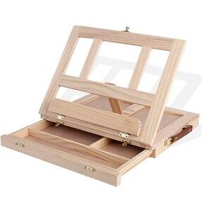 Деревянный Настольный мольберт для рисования художника, детский ящик, портативный Настольный Ноутбук, аксессуары, чемодан, краска, оборудо...
