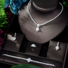 HIBRIDE Luxury 4pcs Bridal Zirconia Jewelry Sets for Women Bridal Wedding Necklace And Earring Sets Party Accessories N-1161