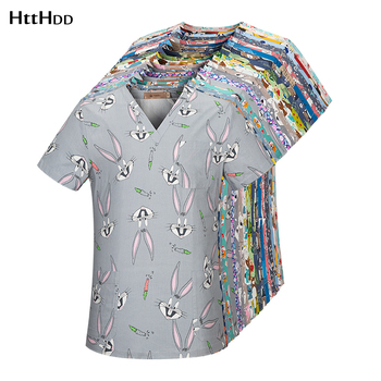 htthdd Cartoon printing scrubs tops pet grooming work uniform beauty salon workwear cotton health service costume women lab coat