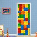 Настенные 3D-обои для детской комнаты, кирпичи Lego, Декоративные самоклеящиеся дверные наклейки из ПВХ, водонепроницаемая