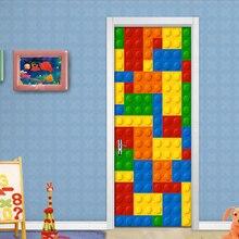 3D ילדי טפט ציור קיר חדר לבנים לגו ילדי חדר שינה קישוט עצמי דבק דלת מדבקת PVC קיר עמיד למים