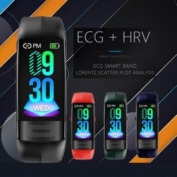 P11plus PPG ekg inteligentna bransoletka ciśnienie krwi Smartband monitor tętna aktywność opaska monitorująca aktywność fizyczną pomiar temperatury ciała tanie i dobre opinie MOCRUX Kolorowy WYŚWIETLACZ LCD Wszystko kompatybilny SİLİCA Passometer Fitness tracker Uśpienia tracker Wiadomość przypomnienie