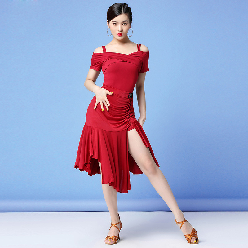 New Fashion 2019 Women Dance Clothes Salsa Samba Sling Dress Off Shoulder Irregular Latin Costume (Top, Skirt, Under-shorts)
