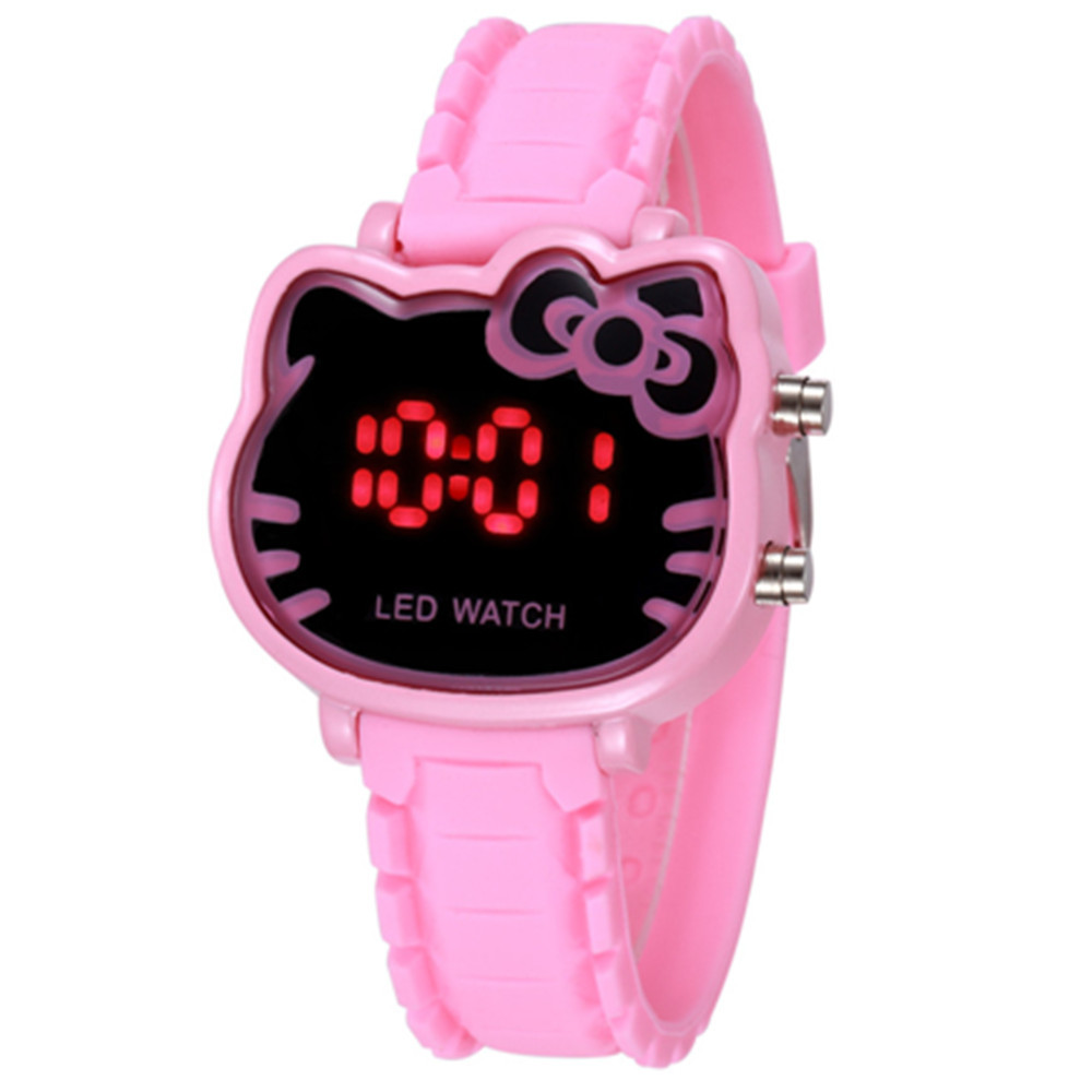 Hello Kitty Watch For Kids Children Cartoon Silicone Strap LED Electronic Wrist Watches Women Kids Watch Clock Gifts For Girls