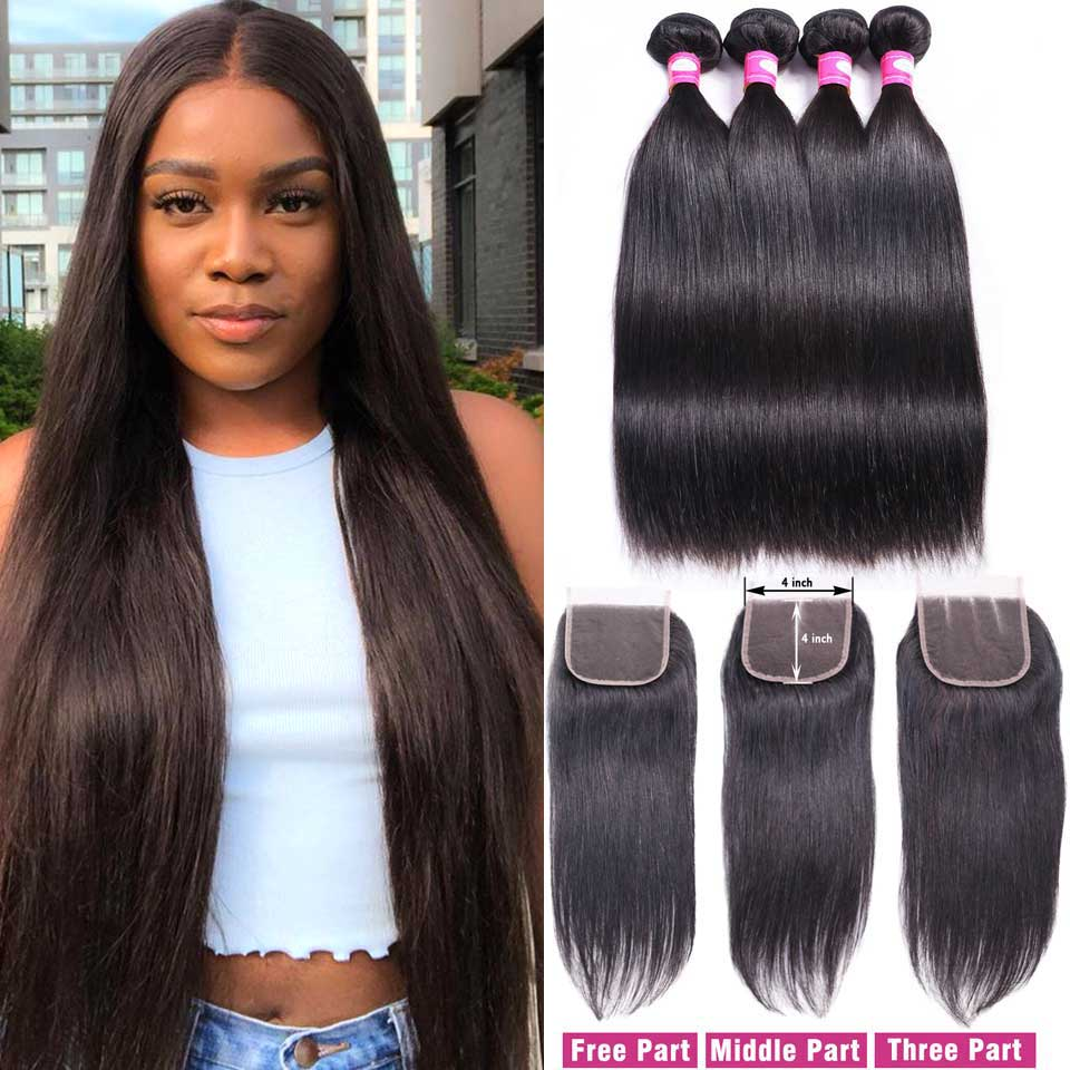 Brazilian Straight Hair Bundles With Closure Remy Human Hair 3 Bundles With Closure 4*4 Lace Closure With Bundles