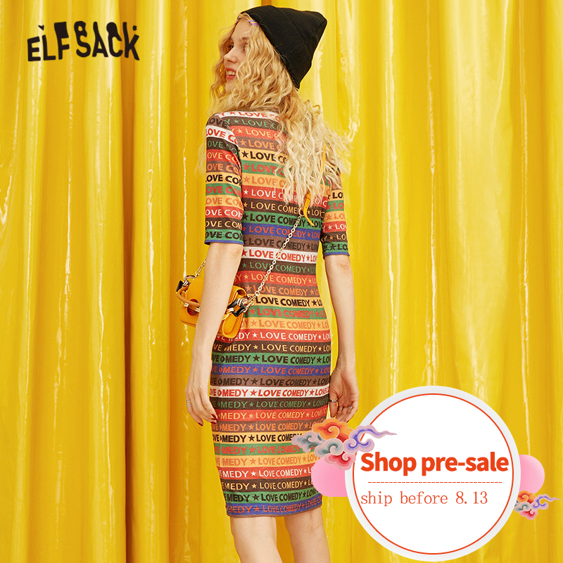 ELFSACK Rainbow Striped Women Dresses 2019 Fashion Elegant Letter Print Female Holiday Dress Streetwear Casual Woman Clothing