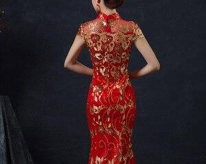 Image 3 - Rosso Cinese Abito Da Sposa Femminile Lunga A Manica Corta Cheongsam Oro Sottile Vestito Tradizionale Cinese Delle Donne Qipao per la Cerimonia Nuziale Del Partito