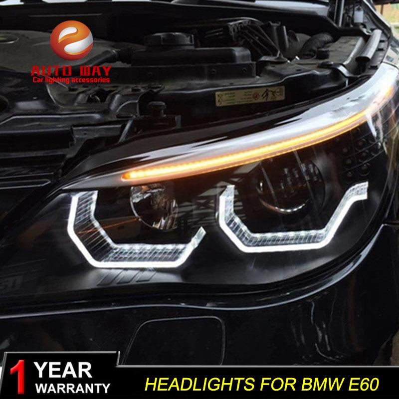 Car Styling Case For BMW E60 Headlights 2003-2010 E60 Headlight 523i 530i LED Headlight DRL Lens Double Beam HID Xenon