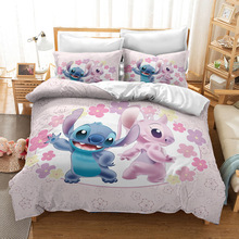 Bedding Set Disney Lilo & Stitch Children 3D Cartoon Quilt Cover Pillowcase Cartoon Printed Pattern Brushed Polyester Soft Gifts