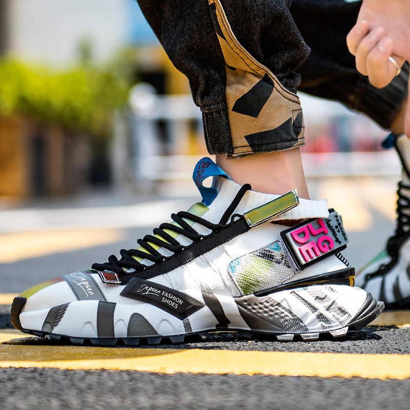 Fujin Genuines kaliteli erkekler kadınlar spor ayakkabı platformu nefes rahat kadın ayakkabı tıknaz Ins tarzı örgü çorap ayakkabı