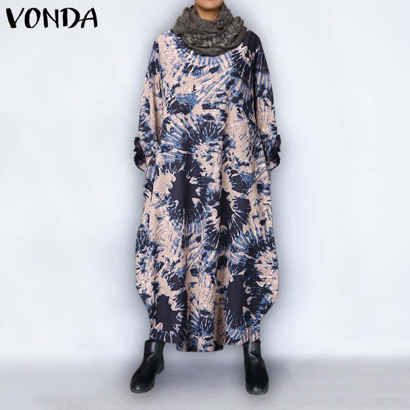 Fashion Women's Autumn Sundress VONDA 2020 Bohemian Sweatshirts Dress Female <font><b>Vintage</b></font> Plus Size <font><b>Maxi</b></font> Long Party <font><b>Vestidos</b></font> S-5XL image