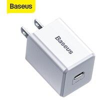 Baseus us plug usb carregador 18 w tipo c pd carregador rápido adaptador portátil viagem carregador de parede carregamento rápido para samsung para huawei