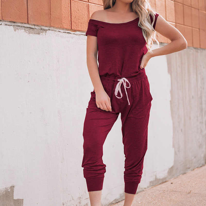 Hot Women Summer Off Shoulder Jumpsuit Outfits Short Sleeve Lace-up Rompers with Pockets  IE998