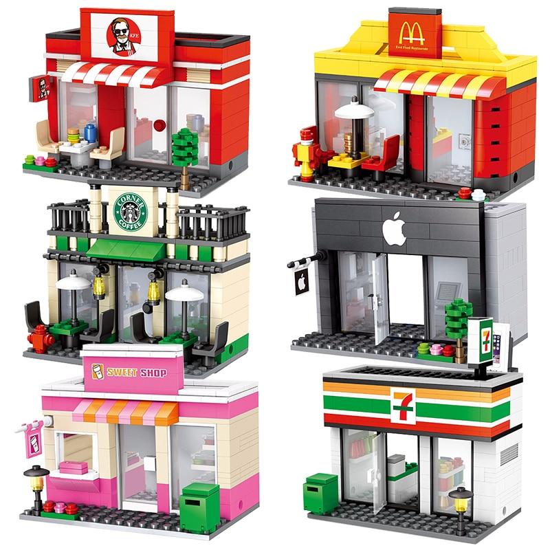 City Mini Street Scene Retail Store Miniature Building Block Brick Educational Cafe Mcdonald Apple 3D Model Toys For Legoinglys