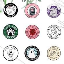 Pata de Gato Rosa gato broches para las mujeres los hombres esmalte Pin de solapa bolsa Animal Metal insignia regalo de la joyería 2021 venta al por mayor