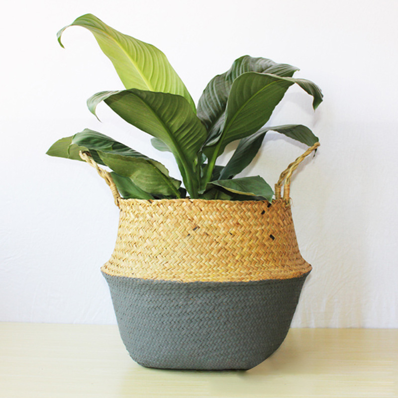 Hot Sale Foldable Handmade Storage Baskets Patchwork Wicker Rattan Garden Flower Pot Planter Straw Basket Home Decor Dropship