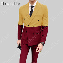 Men's Suits Host-Costume Stage-Outfit Wedding-Clothing Performance Singer Thorndike Male