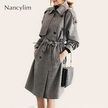 Houndstooth Plaid Trench Coat Women Mid-length Autumn Winter Overcoat Girls Student New Fashion Loose-fitting 2019