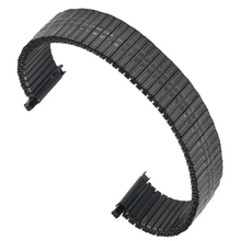 Fashion Black Stainless Steel Watch Strap Convenient NO Buckle Elastic Force Watches Band Durable Metal Replacement Strap convenient retractable buckle strap with clip color assorted