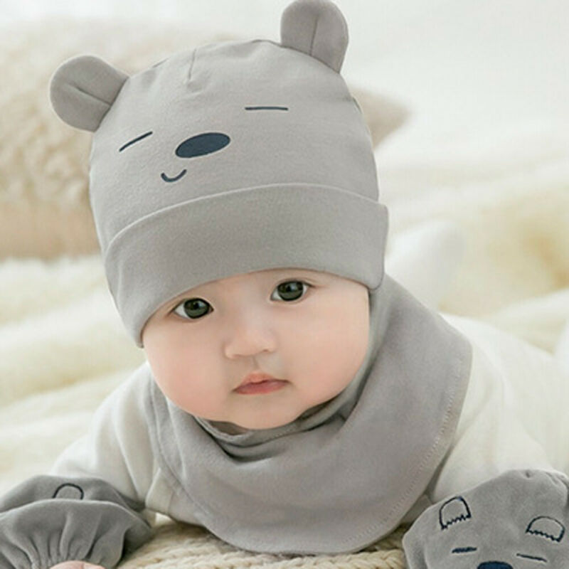 2 Pieces Baby Beanies Cap Set Baby Kid Solid Color Plush Ball Baby Girls Hat And Scarf Set Winter Warm Caps For Boys Newborn Hat