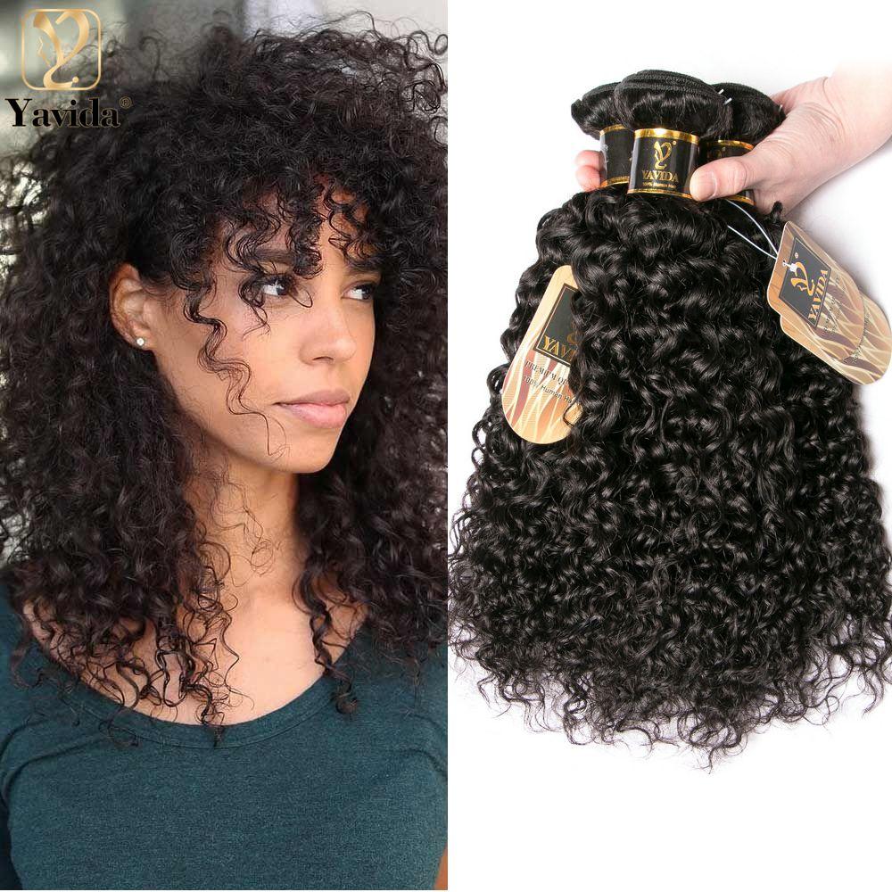 Курчавые вьющиеся человеческие волосы Yavida, пряди естественного цвета, 8-20 дюймов, необработанные курчавые 1/3 пучков, человеческие волосы, пр...