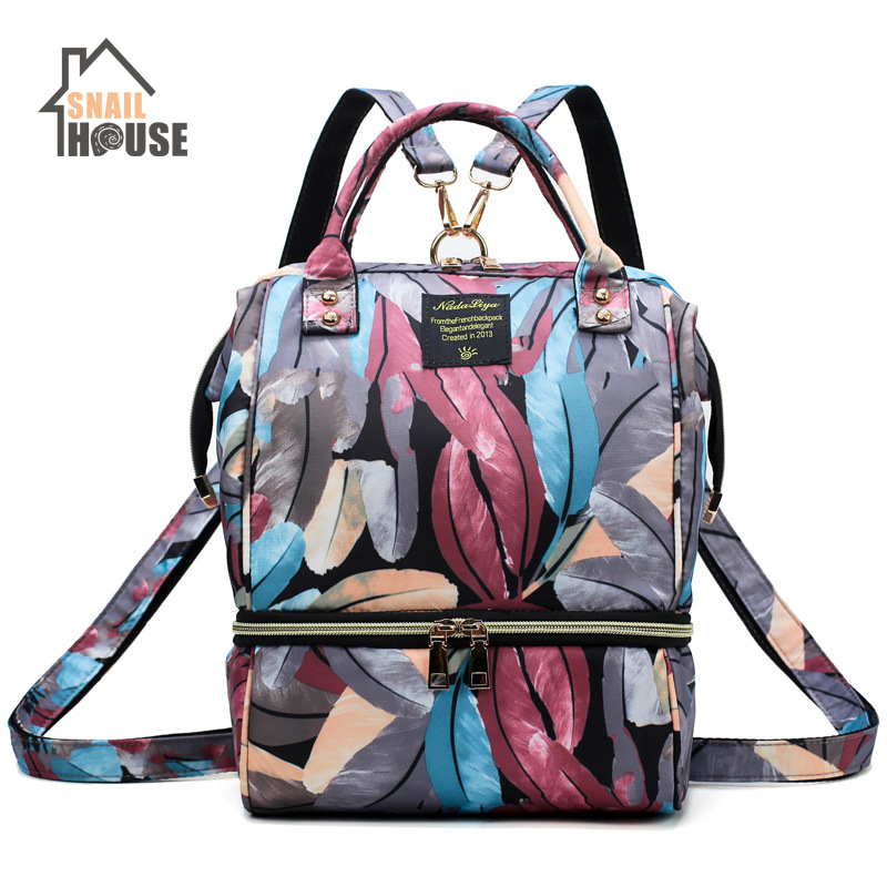 Snailhouse Mummy Bag Multi-function Large Capacity Maternal Child Nappy Bag Waterproof Insulation Diaper Bag Shoulder Backpack