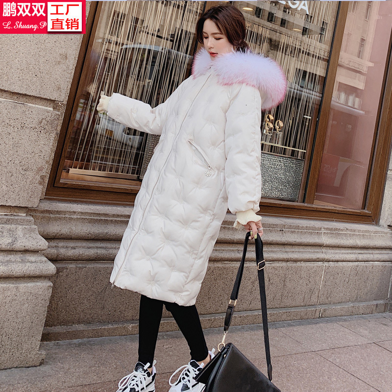 2019 Snow Embroidery Thickening Long Fund Cotton-padded Jacket Heavy Seta Lead   Down   Cotton-padded Clothes Easy Loose   Coat   Tide