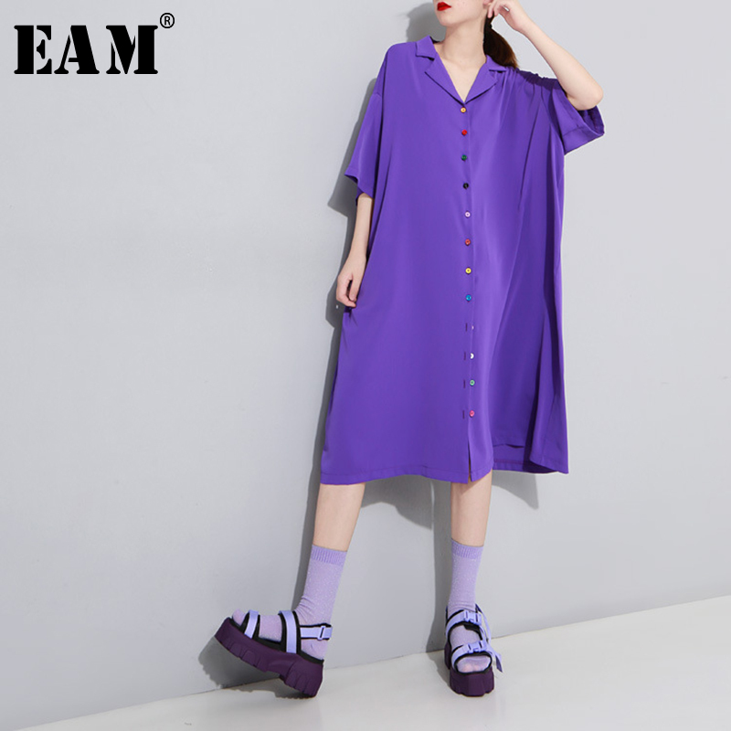 [EAM] Women Colorful Button Long Big Size Shirt Dress New Lapel Three-quarter Sleeve Loose  Fashion Spring Summer 2020 1T978