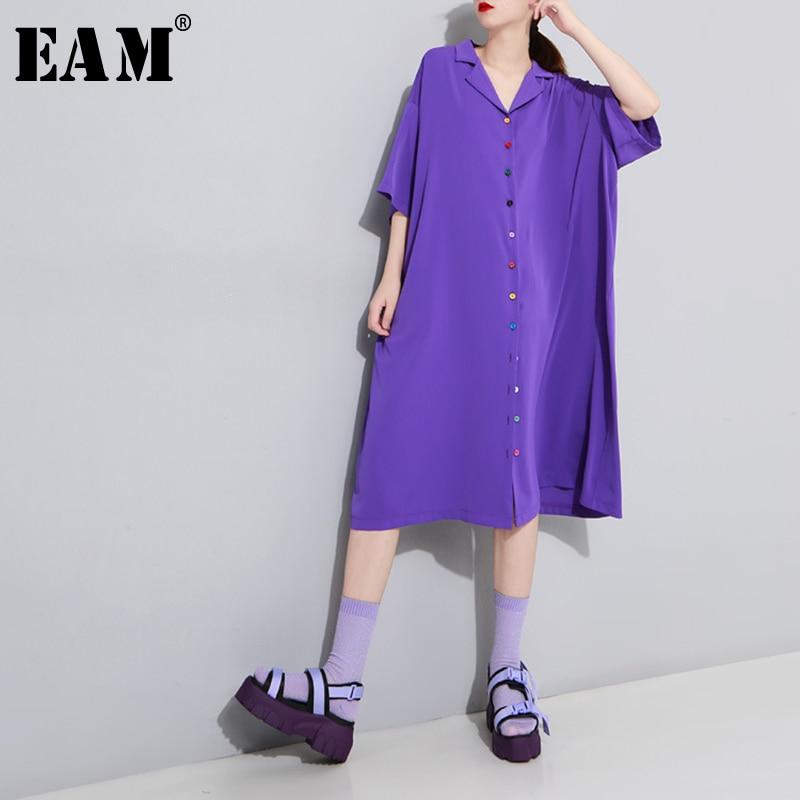 [EAM] Women Colorful Button Long Big Size Shirt Dress New Lapel Three-quarter Sleeve Loose  Fashion Spring Summer 2020 1T978
